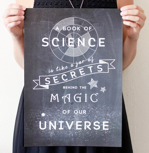 "Science Chalkboard Print ""Book Of Science - Jar Of Secrets - Magic  - Universe. Black Blue Teal Red Purple Green. Kids Bedroom on Etsy, $20.80"