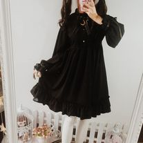 Black Lolita-Style Dress with Moon Decoration