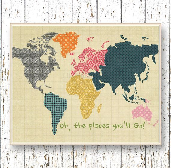 Oh, the Places you'll Go! Dr Seuss  Family Room playroom - Kids wall art World map Blue orange pink Boys and girls bedroom art for children
