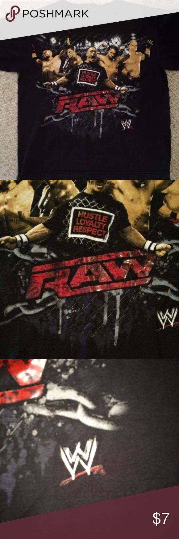 "WWE W t shirt raw hustle loyalty respect Cotton shirt. Unisex. Could also fit youth. 18"" chest. 21.5"" length.  One small snag on shirt. Otherwise awesome shape. Tops Tees - Short Sleeve"
