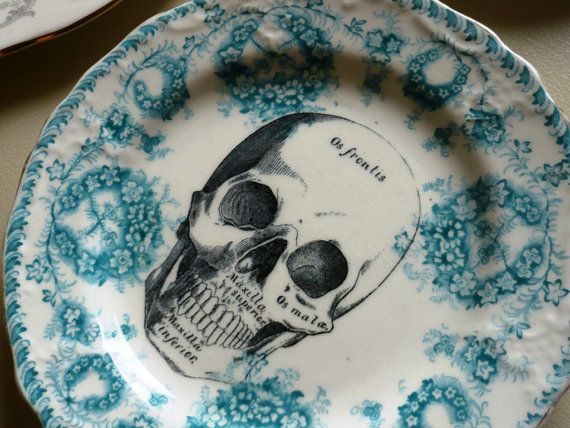 Skull Vintage China Dinner Plate Wall Decor by TheReworkHouse, £26.00