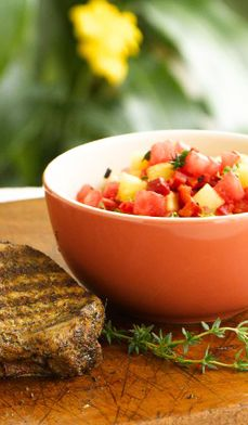 Grilled Pork Chops with Watermelon-Pineapple Salsa - The tropical ...
