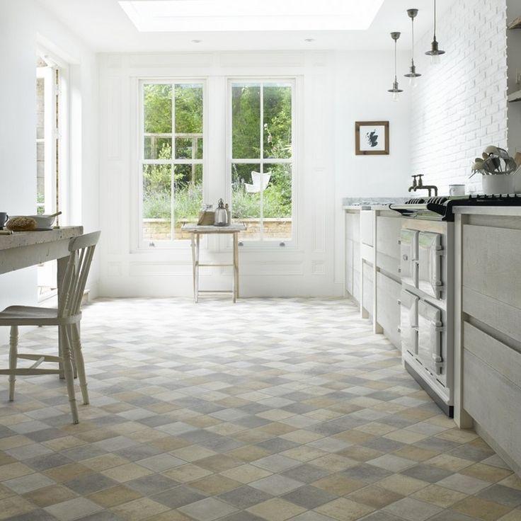 Bodenbelag Für Küche Pvc Boden Erdgeschoss Große Fenster Weiße Ziegelwand