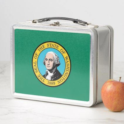 Metal Stainless Lunchbox - Washington State flag - decor gifts diy home & living cyo giftidea