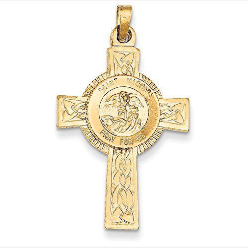 14K Yellow Gold St. Michael Medal Cross Pendant