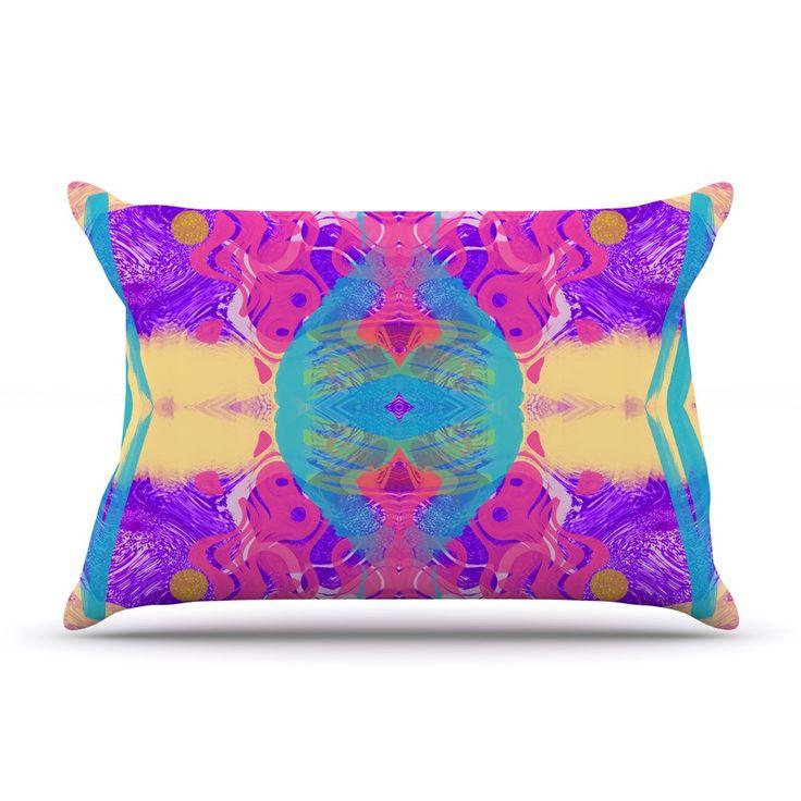 "Vasare Nar ""Glitch Kaleidoscope"" Pink Purple Pillow Case"