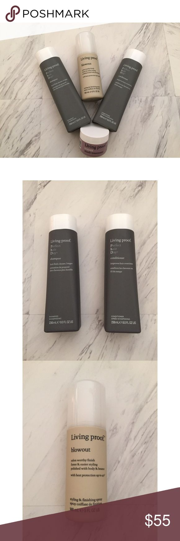 Living Proof Hair Set - Shampoo/Conditioner Living Proof Hair Set* Brand New - Never Used Living Proof Perfect hair Day Shampoo & Conditioner  Retail Price: $25 Size: 236 mL | 8 oz Living Proof Blowout - Styling & Finishing Spray Retail Price: $24 Size: 148 mL | 5 oz Living Proof Restore Mask Treatment Retail Price: $12 Size: 28 g | 1 oz *Can be purchased together or individually Living Proof Other