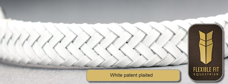 White Patent Plaited English Leather Gel Padded Flexi-Fit Browband - Black