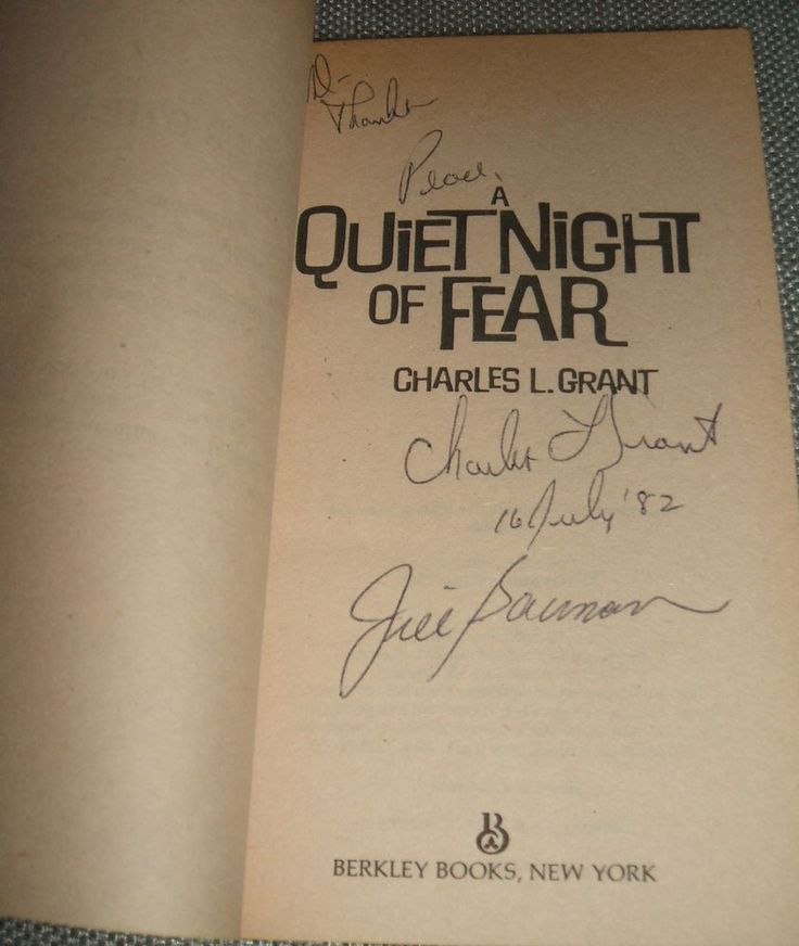 1st of A Quiet Night Of Fear by Charles Grant Signed by Both Author and Artist