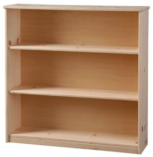 "Solid Pine 9"" Deep Bookcase with Fixed Shelves Unfinished 36w x 36h"