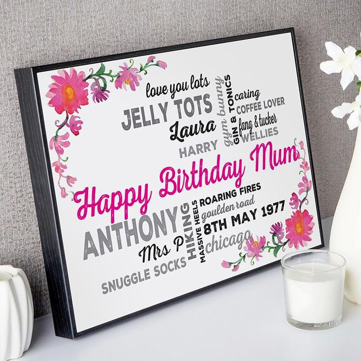 Create your personalised print or canvas with a floral background as a unique Birthday gift. See your design preview on screen before you buy
