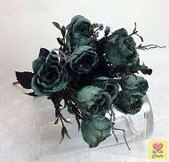 2 X Artificial Silk Blue Rose Flower Bushes/Wedding Bouquet For Home Decoration