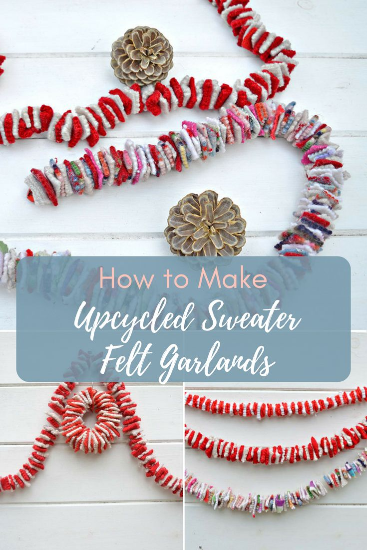 Recycle your old sweaters or felt scraps to make some a gorgeous felt garland.  They look great draped around the Christmas tree like tinsel or hung on the mantle.  Step by step tutorial for this fun simple addictive craft.