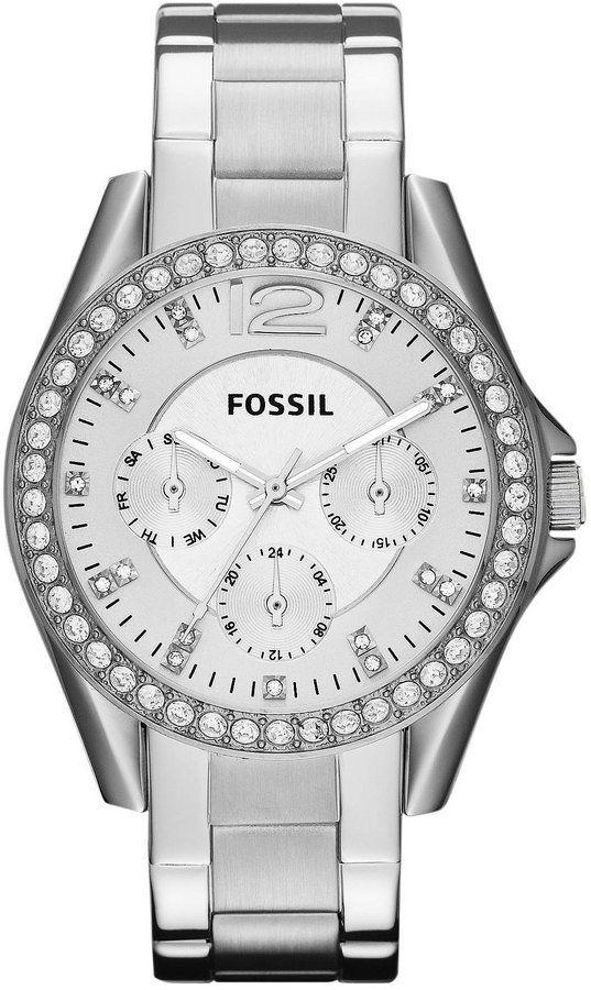 Fossil Riley Silver Glitz Crystal Detail Stainless Steel Bracelet Multifunction Watch