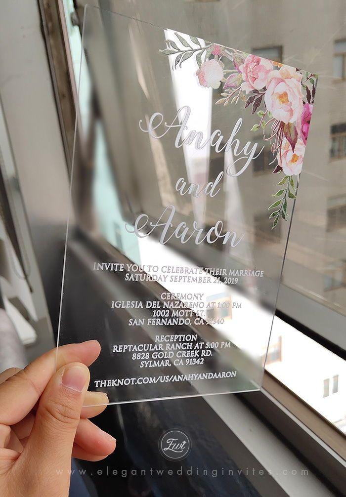 #EWI clear acrylic floral pattern modern wedding invitation
