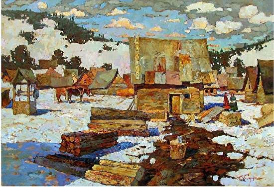 Winter by Denis Sarazhin (Ukrainian) by Realism Without Borders Oil ~ 31.5 x 45