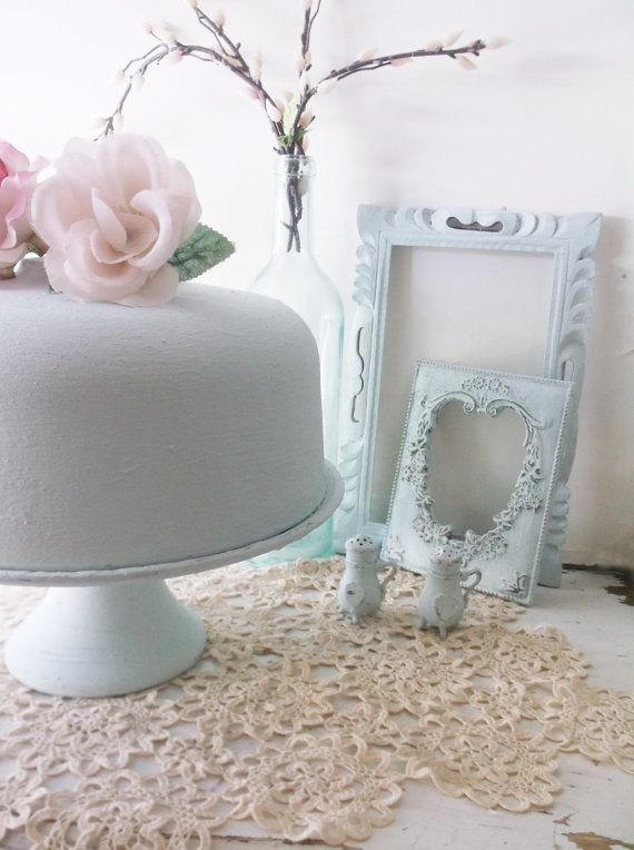Shabby Painted Cake Plate. Pedestal Glass  Cake by ShabbyPeonie