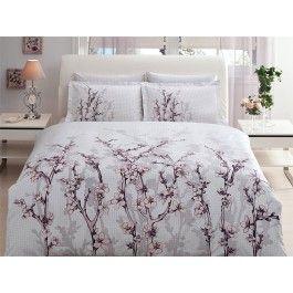 Lenjerie de pat de lux din bumbac satinat Tac White Garden 1 persoana