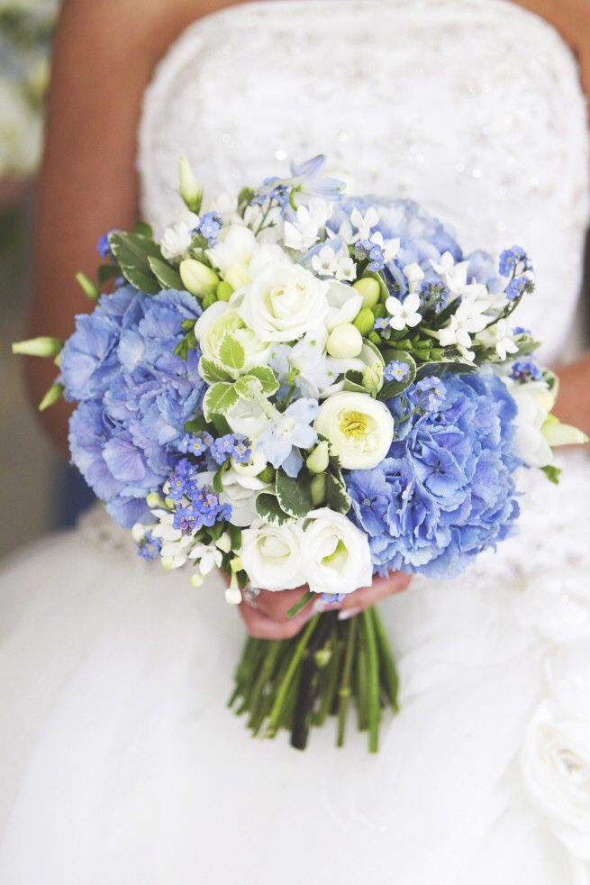 Pale blue hydrangea , white ranunculus , blue forget me nots , white freesia , wedding hand tied brides bouquet