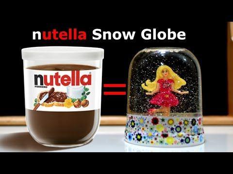 Snow globe Ballerina - Nutella jar Glitter Water Glitzi art craft tutorial diy hacks kids fun play