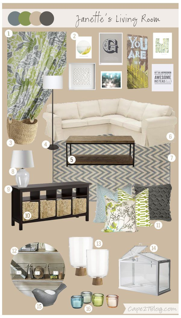 Living room, blues and greens and grays?  Custom Mood Boards | Cape27Blog.com