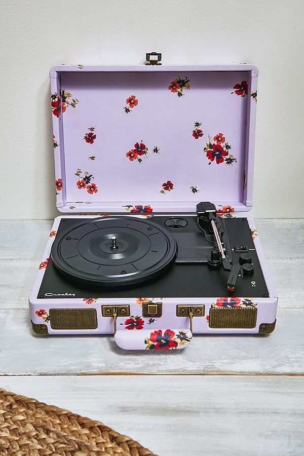 Crosley Cruiser Lavender Floral Bluetooth Vinyl Record Player Record Player Vinyl Record Player Floral Record Player