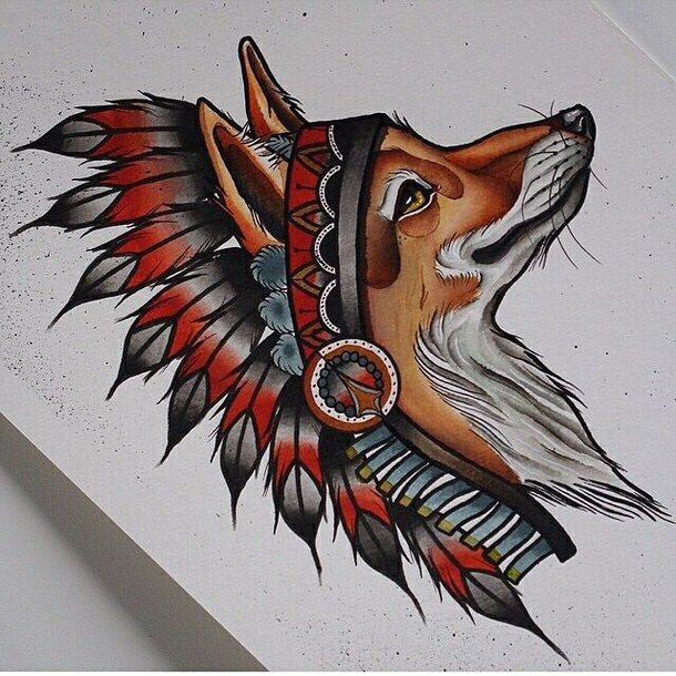 удивительно, искусство, нарисованное, рисунок, лиса, эскиз, татуировка