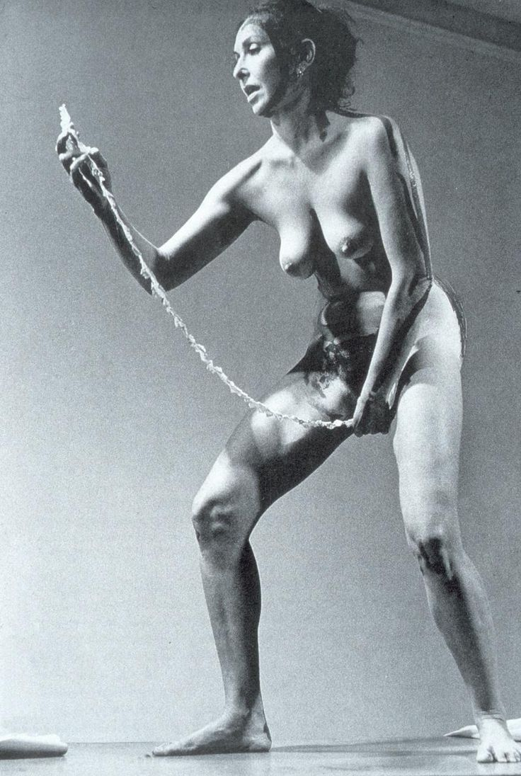 "Carolee Schneemann. Still from the ""Interior Scroll"" performance, 1975."