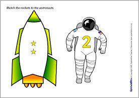ruimte: Match de getallen op de raket en de astronaut