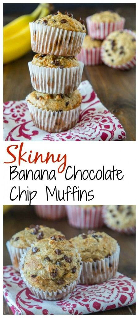 Skinny Banana Chocolate Chip Muffins – a lightened up (but you would never know it) banana muffin with chocolate chips. They freeze well, so you can always have them on hand for quick breakfasts.