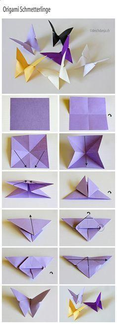 Anleitung für Origami Schmetterlinge ❤