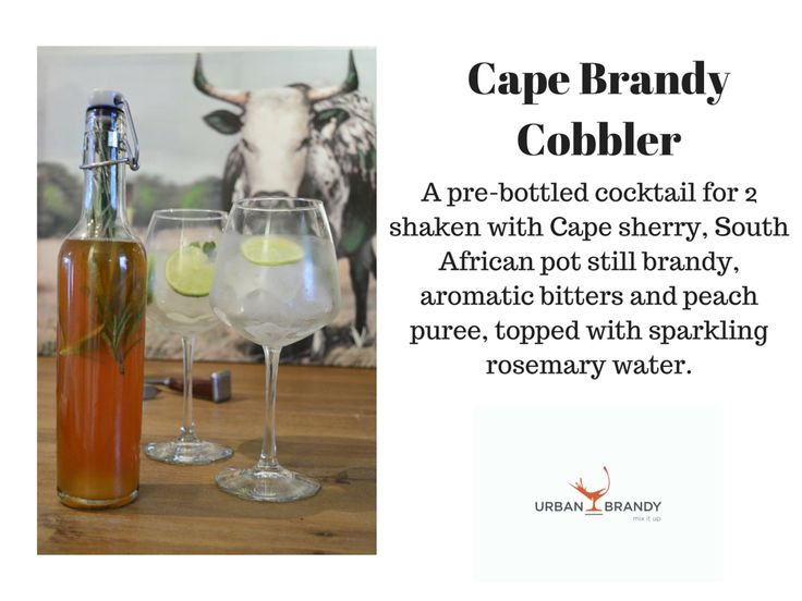 Cape Brandy Cobbler -  25ml Cape Sherry  50ml 3 y/o KWV brandy 37,5mls Peach puree or syrup, 4 Dashes aromatic bitters & 300mls Soda. *Shake & strain all ingredients, except soda, into swing top bottle. Fill with soda and 3 twigs of rosemary. Serve sealed swing top bottle with x 2 wine glasses with mint sprigs and lemon twist in each glass. *Garnish:Rosemary twigs in bottle.