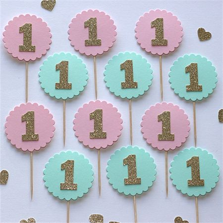1st Birthday Cupcake Toppers -Blush Pink, Mint and Gold Glitter. www.madeit.com.au/littlepaperstand