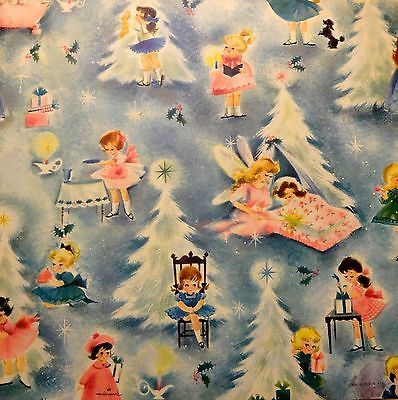 Vintage Hallmark 1960's Christmas Wrapping Paper, Little Holiday Girls + card