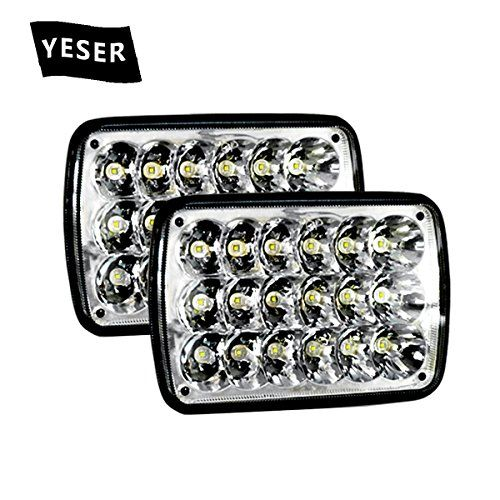 YESER 1 Pair 7x6 5x7 (7x5.75inch) 54W H4 6054 Cree Led Sealed Beam Headlights Off Road Light for Trucks Jeep Xj