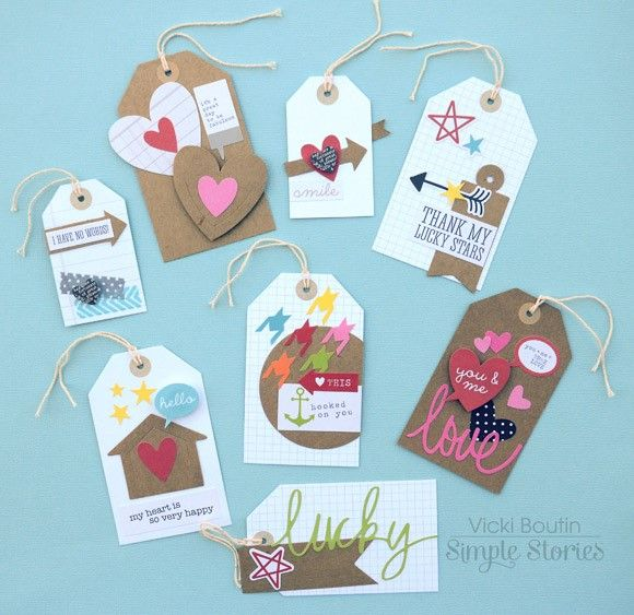 DIY Tags by Vicki Boutin - Scrapbook.com - Create your own pocket page inserts using Simple Stories DIY collection.