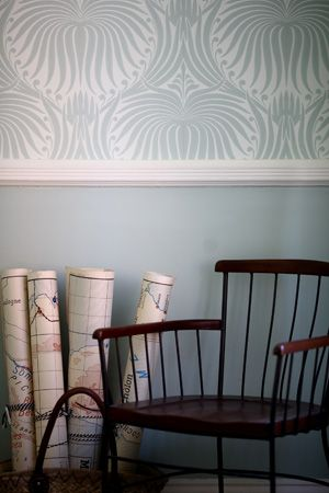 wallpaper above a rail (from Farrow & Ball website)    http://us.farrow-ball.com/pws/client/images/content/newsimages/10waysdado.jpg