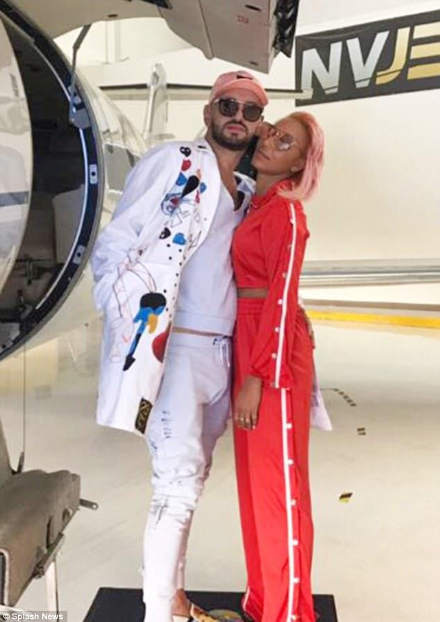 Off on an adventure: It was up, up and away for Mel B on Monday as she boarded a private jet with her hairdresser BFF Gary Madatyan