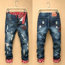 2016 men's jeans straight casual robin jeans men loose cozy ripped men jeans new fashion cotton homme printed jeans(China (Mainland))