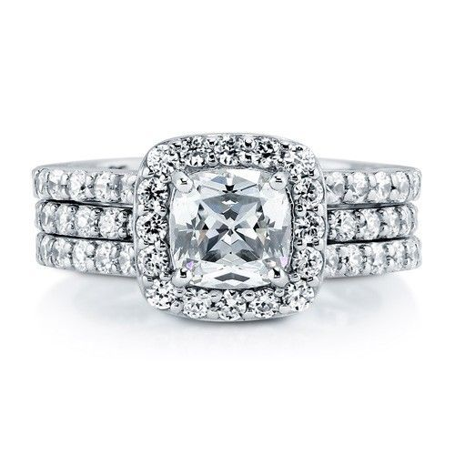 Cushion Cut CZ 925 Silver 2-Pc Halo Ring Set