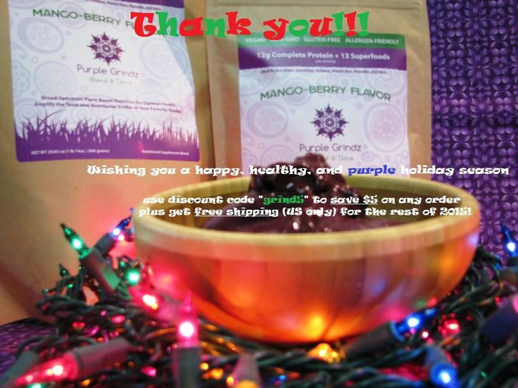 """#ThankYou to our followers and fellow #PlantBased enthusiasts!   Please enjoy $5 off on us for the rest of 2015 plus get FREE Shipping (US only)!  Use discount code """"grind5"""" at checkout.  Click to buy now!"""