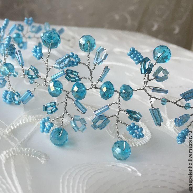 Купить Свадебный венок диадема на голову голубые кристаллы СКИДКА - свадебное украшение, вечернее украшение
