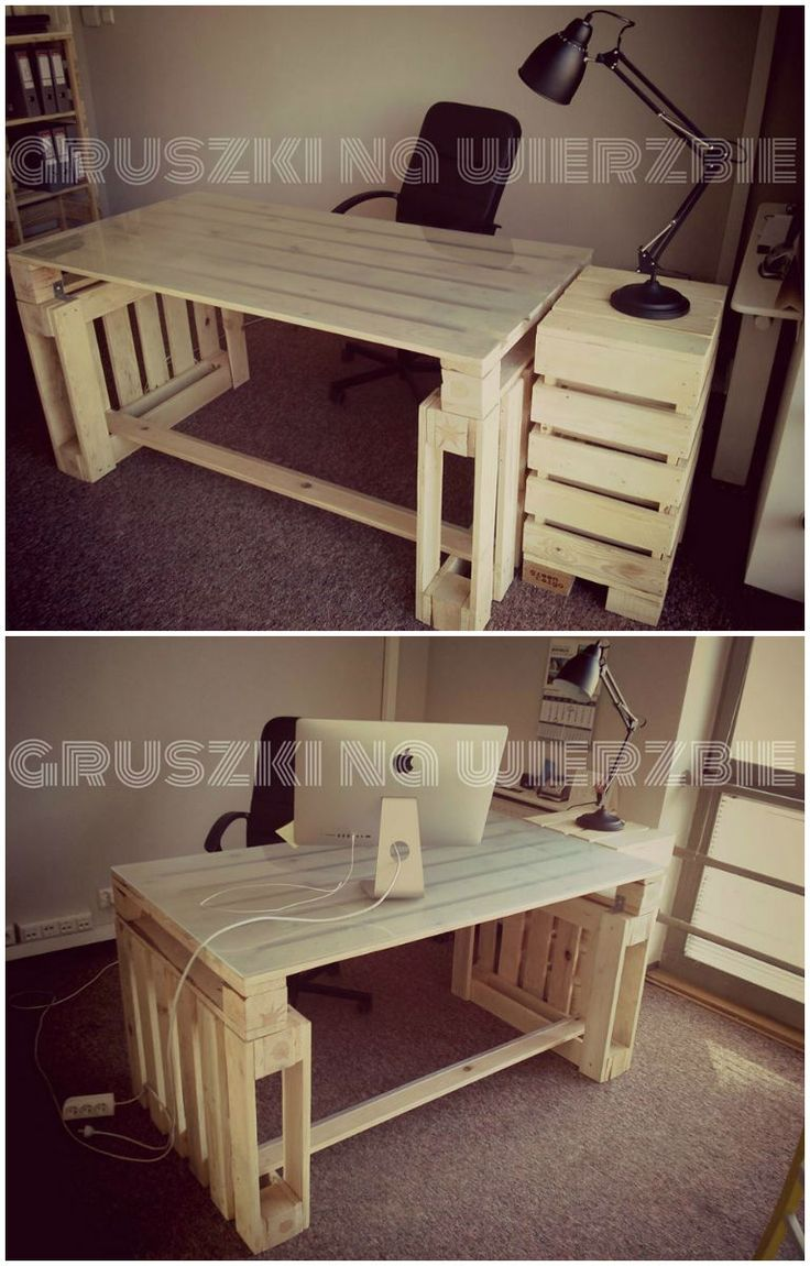 Pallets office #Ecodesign, #Pallets #pin_it #DIY #wood #furniture @mundodascasas www.mundodascasas.com.br