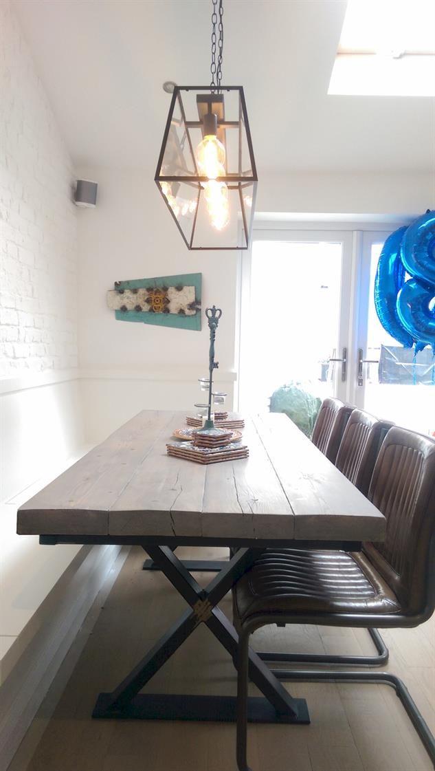 reclaimed wood metal cross leg base dining table