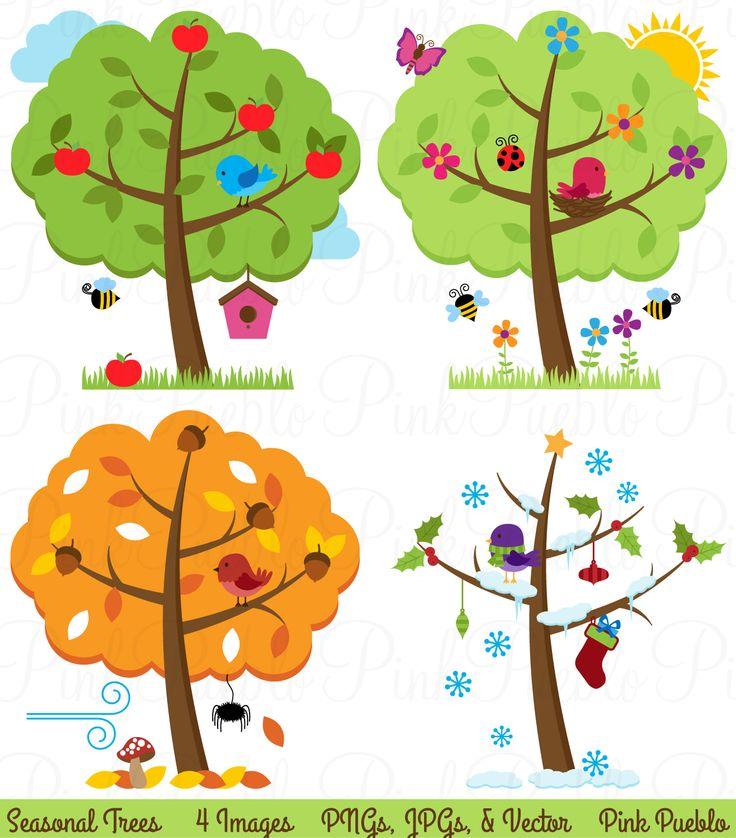 Four Seasons Trees Clipart & Vectors by PinkPueblo on Creative Market