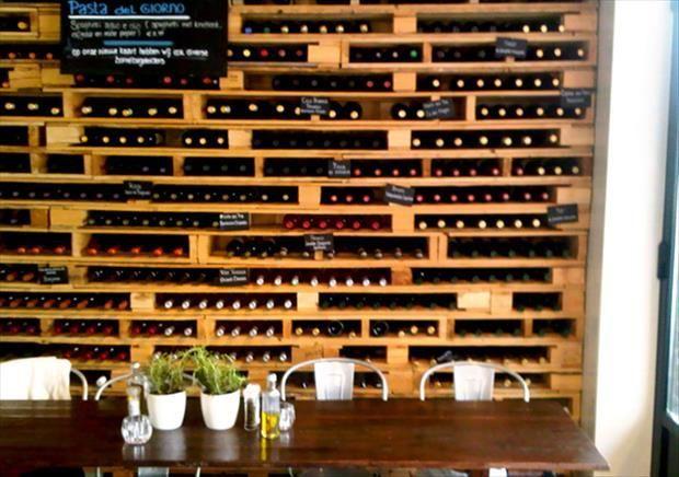 rangement bouteilles palette bois