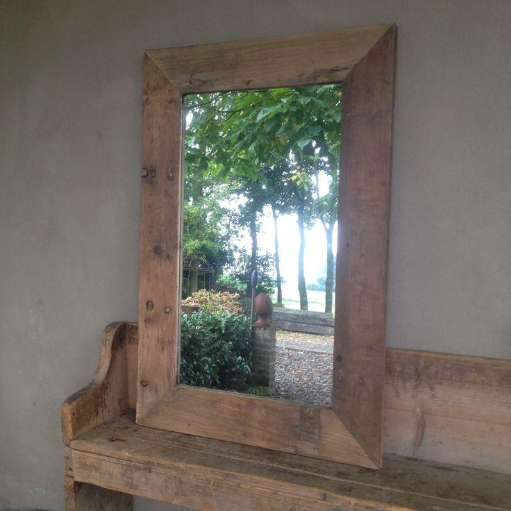 Landelijke grote houten spiegel doorleefd oud hout 120 X 80 stoer robuust sober