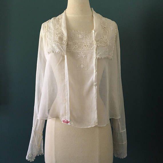 Edwardian Lawn Blouse White Lace Armistice Day Blouse  Fleur