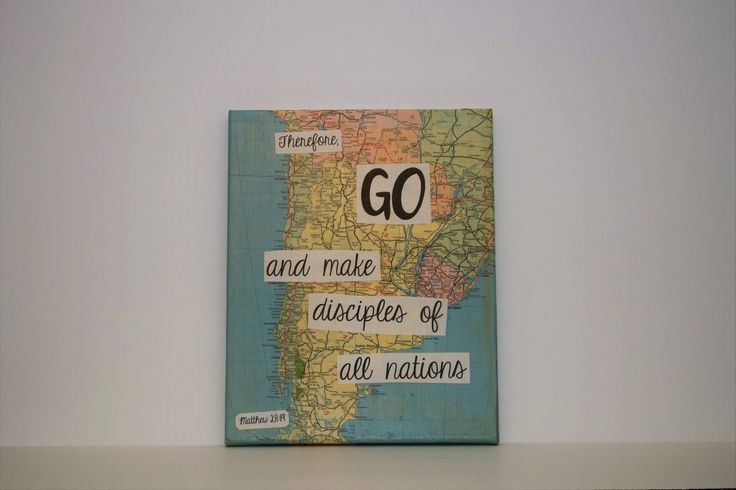"""Map Canvas - """"Therefore, Go and make disciples of all nations"""" by ChristysCreations411 on Etsy"""