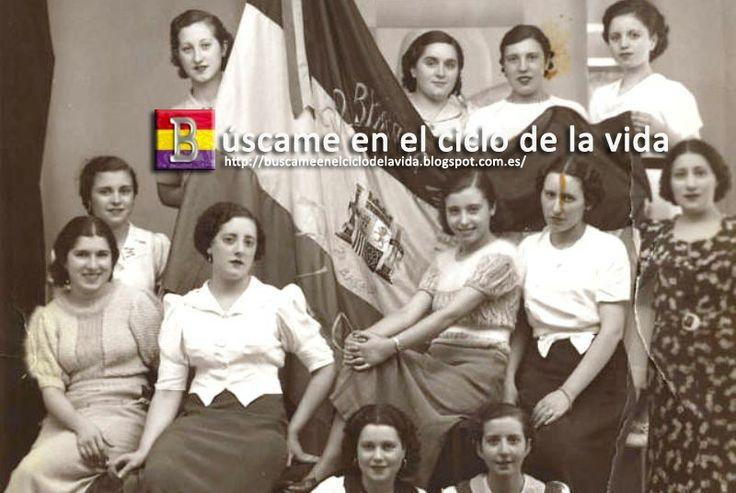 Mujeres que bordaron la bandera republicana a uno de los batallones de la 22 Brigada Mixta en 1937  http://buscameenelciclodelavida.blogspot.com.es/